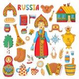 Комплект вектора значков русского традиционного doodle символов colrful Стоковые Фотографии RF