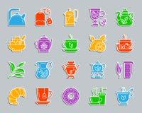 Комплект вектора значков стикера заплаты чая бесплатная иллюстрация