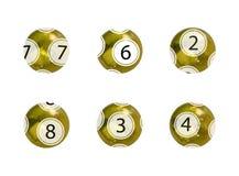 Комплект вектора золотых шариков лотереи, реалистических сияющих шариков изолированных на белом Backgrond, игры азартной игры иллюстрация штока