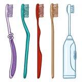 Комплект вектора зубных щеток шаржа Ручные и электрические зубные щетки иллюстрация вектора
