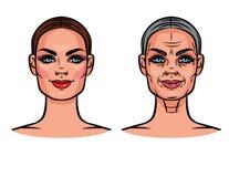 Комплект вектора изображений красивой женщины различного времени Иллюстрация штока