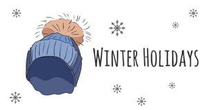 Комплект вектора изолированных аксессуаров зимы Стоковые Изображения