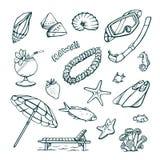Комплект вектора каникул на море Изолированные чертежи руки на белой предпосылке Стоковое Фото