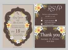 Комплект вектора карточек приглашения при элементы цветков Wedding col Стоковое Изображение RF