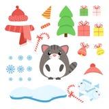 Комплект вектора кота с штатом xmas: леденец на палочке, подарки, дерево, Стоковые Изображения