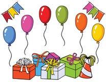 Комплект вектора красочный для поздравительой открытки ко дню рождения Стоковое Изображение