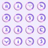 Комплект вектора круглых значков рождества иллюстрация вектора
