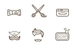 Комплект вектора линейных значков парикмахерской Бабочка, ножницы, мыло, опарник воска, стильная стрижка и усик иллюстрация штока