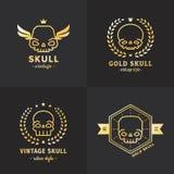 Комплект вектора логотипа золота плана черепов Часть 4 Стоковые Фото