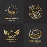 Комплект вектора логотипа золота плана черепов часть 2 Стоковое Изображение