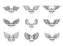 Комплект вектора логотипа черноты плана крылов Часть первая Стоковая Фотография RF
