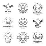 Комплект вектора логотипа черноты плана черепов Часть первая Стоковые Изображения