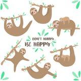 Комплект вектора милых леней Нарисованная вручную иллюстрация мультфильма лени вися на ветви для детей, тропическом лете, праздни стоковое изображение rf