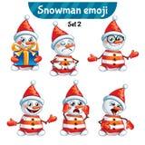 Комплект вектора милых характеров снеговика 2 установленного орнамента Стоковые Изображения