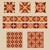 Комплект вектора морокканских плиток и границ Собрание покрашенных картин для дизайна и моды Стоковое фото RF