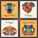 Комплект вектора нарисованной руки конспекта поздравительой открытки ко дню рождения doodles Стоковые Фотографии RF