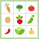 Комплект вектора овощей шаржа изолированных на белой предпосылке иллюстрация штока
