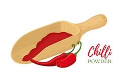 Комплект вектора перца чилей с деревянной катышкой Порошок пряного condiment Стоковые Фото