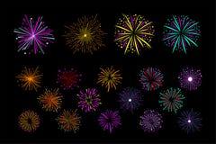 Комплект вектора пестротканых фейерверков праздника Яркий сверкная салют Декоративные элементы для приглашения фестиваля бесплатная иллюстрация