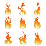 Комплект вектора пламен огня шаржа Световой эффект зажигания, пламенеющие символы иллюстрация штока