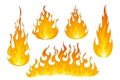 Комплект вектора пламен огня Стоковые Фото