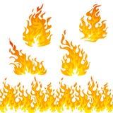 Комплект вектора пламен огня Стоковые Фотографии RF