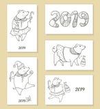 Комплект вектора поздравительной открытки и плакатов при изолированная свинья плана смешная черная Символ китайского Нового Года  Стоковое Изображение RF