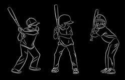 Комплект вектора положений бэттинга бейсбола молодости иллюстрация вектора
