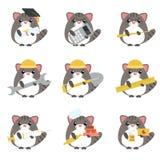 Комплект вектора профессий серых котов различных: стоковое фото rf
