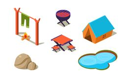 Комплект вектора равновеликих значков для располагаться лагерем Шатер, небольшое озеро, камни, таблица и стулья, гриль и лагерный иллюстрация вектора
