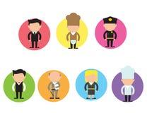 Комплект вектора различных характеров профессии в плоском дизайне Люди и женщины различных карьер и работ Стоковое Фото