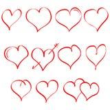 Комплект вектора сердца нарисованного рукой Символ влюбленности Элемент для дизайна дня валентинок белизна изолированная предпосы Стоковые Фотографии RF