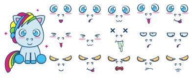 Комплект вектора сидеть милый пони с различными эмоциями стороны стоковые изображения rf