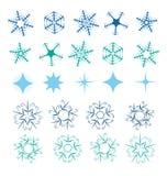 Комплект вектора снежинки иллюстрация вектора
