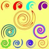 Комплект вектора спиралей и объектов от запятых в различном desig иллюстрация вектора