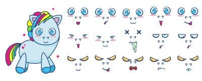 Комплект вектора стоять милый пони с различными эмоциями стороны бесплатная иллюстрация