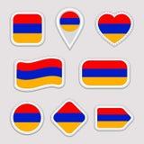 Комплект вектора флага Армении Армянка сигнализирует собрание стикеров Изолированные геометрические значки Значки национальных си иллюстрация штока