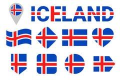 Комплект вектора флага Исландии Собрание исландских национальных флагов Значки изолированные квартирой Имя страны в традиционных  иллюстрация штока