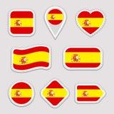 Комплект вектора флага Испании Испанское собрание стикеров национальных символов Изолированные геометрические значки Значки нацио Бесплатная Иллюстрация