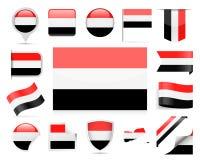 Комплект вектора флага Йемена Стоковые Изображения