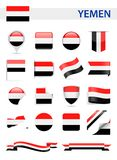 Комплект вектора флага Йемена Стоковые Фотографии RF