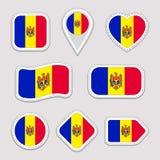 Комплект вектора флага Молдавии Молдавское собрание стикеров флагов Изолированные геометрические значки Значки национальных симво иллюстрация штока
