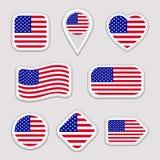 Комплект вектора флага США Американское собрание стикеров национальных флагов Значки изолированные вектором геометрические Сеть,  иллюстрация штока