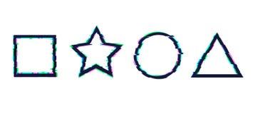 Комплект вектора форм небольшого затруднения геометрических: Квадрат, круг, звезда и треугольник иллюстрация штока