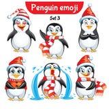 Комплект вектора характеров пингвина рождества Комплект 5 Стоковая Фотография
