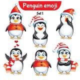 Комплект вектора характеров пингвина рождества Комплект 1 Стоковое Изображение