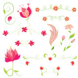 Комплект вектора цветков. Флористические элементы Стоковое Изображение RF