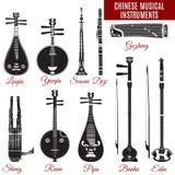 Комплект вектора черно-белых китайских музыкальных инструментов Стоковые Фотографии RF