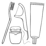 Комплект вектора черных деталей чистить щеткой зуба эскиза Зубная щетка, зубоврачебная зубочистка, Dentifrice иллюстрация вектора