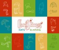 Комплект вектора шляп Санты и шарфов зимы Стоковые Фото